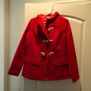 Red coat with nautical details